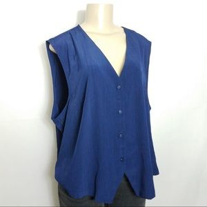 Tops - S.G. SPORT COLLECTION Blue Sleeveless Blouse 22W